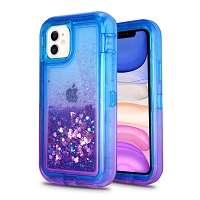 iPhone 11 New HVDQ Dual Layer Heavy Duty Liquid Glitter Defender Case Blue/Purple