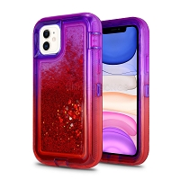 iPhone 11 New HVDQ Dual Layer Heavy Duty Liquid Glitter Defender Case Purple/Red