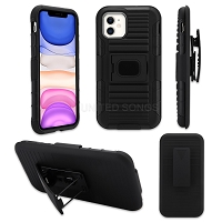 iPhone 11 New 3 in 1 Hybrid Magnetic Kickstand Case With Belt Clip Black/Black