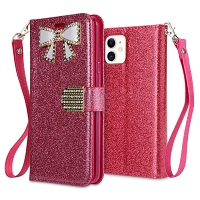 iPhone 11 New Sparkle Diamond Wallet Case Pink