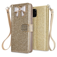 iPhone 11 New Sparkle Diamond Wallet Case Gold