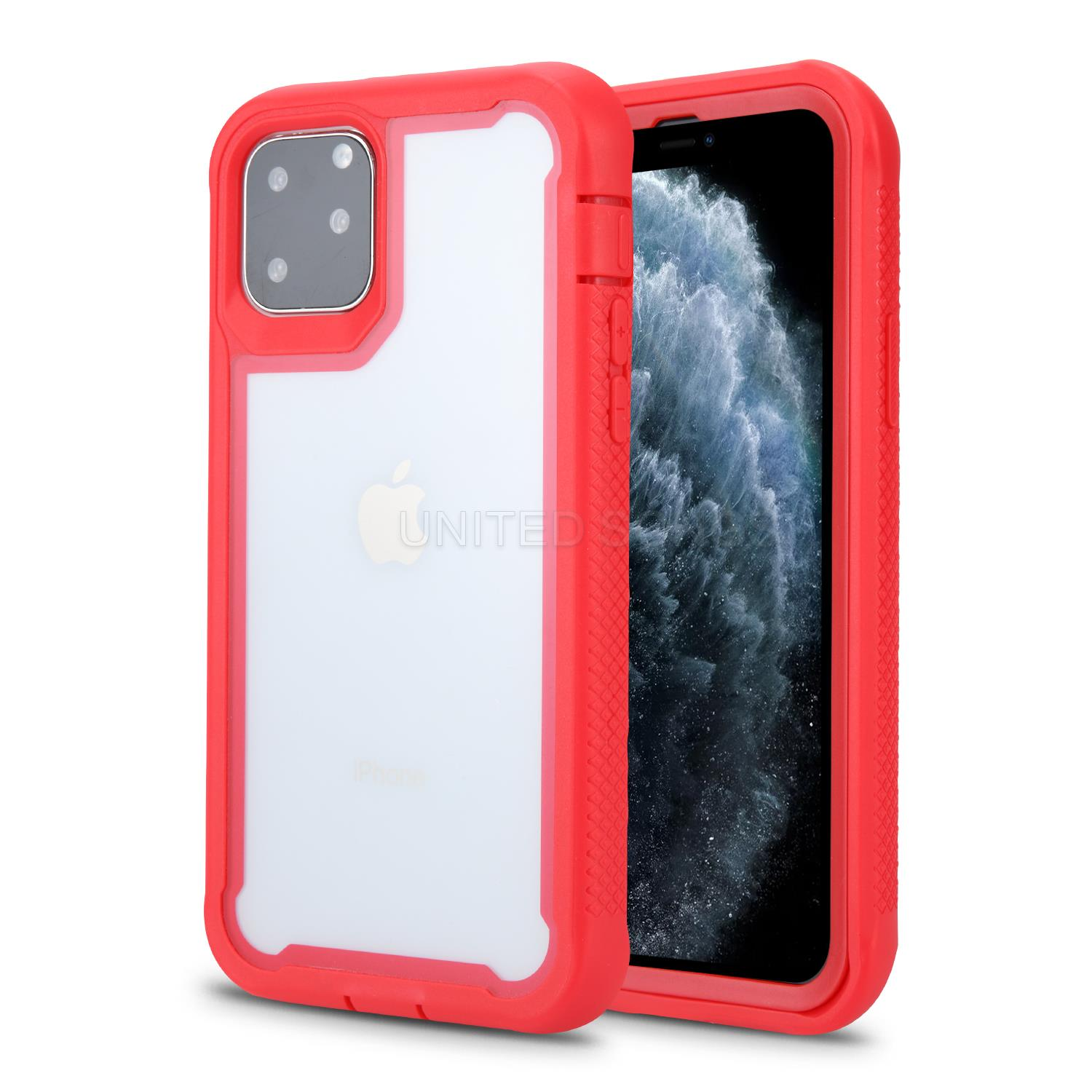 iPhone 11 Pro Max New HDT Hybrid Transparent Case Red/Red