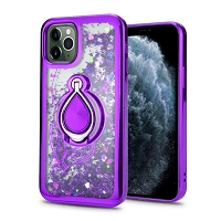 iPhone 11 Pro Max New Liquid Glitter Case With Ring Purple