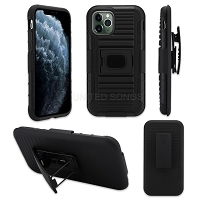 iPhone 11 Pro Max New 3 in 1 Hybrid Magnetic Kickstand Case With Belt Clip Black/Black