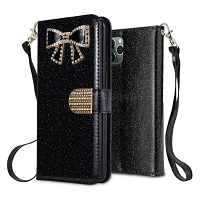 iPhone 11 Pro Max New Sparkle Diamond Wallet Case Black