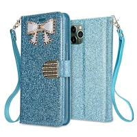iPhone 11 Pro Max New Sparkle Diamond Wallet Case Blue