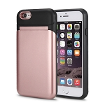 iPhone 6/6S New Hybrid Case With Built-in Mirror/Card Slot/Stand Rose Gold