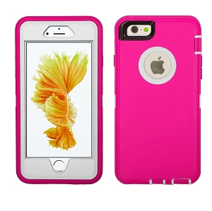 iPhone 6/7/8 Heavy Duty Case With Screen Protector Pink/White
