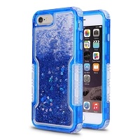 iPhone 6/7/8 New Impact Protective Transparent Heavy Duty Liquid Case Blue