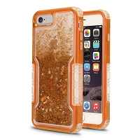 iPhone 6/7/8 New Impact Protective Transparent Heavy Duty Liquid Case Gold