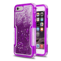 iPhone 6/7/8 New Impact Protective Transparent Heavy Duty Liquid Case Purple