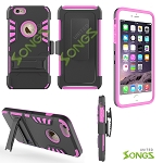 iPhone 6S/6 3 In 1 Hybrid Combo Holster Case With Kickstand Black/Pink