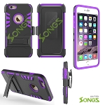 iPhone 6S/6 3 In 1 Hybrid Combo Holster Case With Kickstand Black/Purple