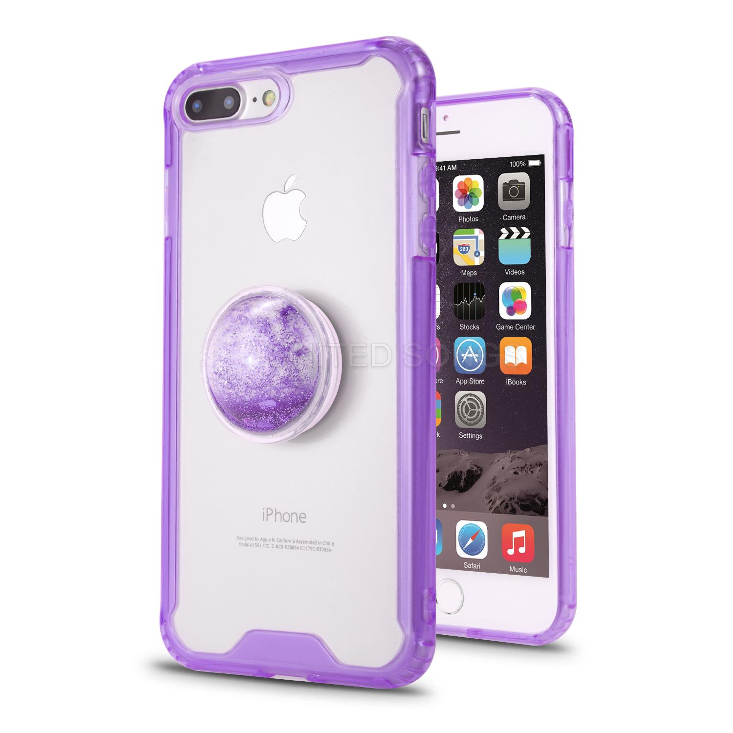 iPhone 7P/8P New Tech Hybrid Case With Liquid Pop Holder Purple