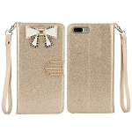 iPhone 8 Plus/7 Plus Sparkle Diamond Wallet Case With Butterfly Design Gold