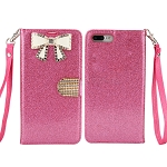 iPhone 8 Plus/7 Plus Sparkle Diamond Wallet Case With Butterfly Design Pink