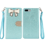 iPhone 8 Plus/7 Plus Sparkle Diamond Wallet Case With Butterfly Design Blue