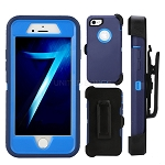 iPhone 5 5S Heavy Duty Case with Screen Protector With Clip Dark Blue/Dark Blue