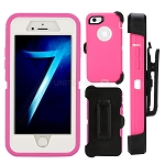 iPhone 8/7 Heavy Duty Case With Screen Protector & Clip Pink/White
