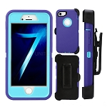 iPhone 8/7 Heavy Duty Case With Screen Protector & Clip Purple/Ocean Blue