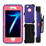 iPhone 8/7 Heavy Duty Case With Screen Protector & Clip Purple/Pink