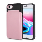 iPhone 8/7 New Hybrid Case With Built-in Mirror/Card Slot/Stand Pink