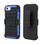 iPhone 8/7 Hybrid Kickstand Case with Belt Clip Black/Blue