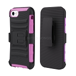 iPhone 8/7 Hybrid Kickstand Case with Belt Clip Black/Pink