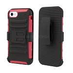 iPhone 8/7 Hybrid Kickstand Case with Belt Clip Black/Red
