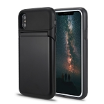 iPhone XS/X New Hybrid Case With Built-In Mirror/Card Slot/Stand Black
