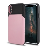 iPhone XS/X New Hybrid Case With Built-In Mirror/Card Slot/Stand Pink