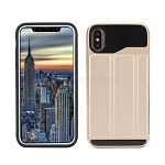 iPhone XS/X New Slim Case With Card Holder & Leather Stand Gold