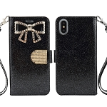 iPhone XS/X Sparkle Wallet Case With Diamond Butterfly Design Black