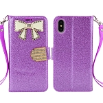 iPhone XS/X Sparkle Wallet Case With Diamond Butterfly Design Purple