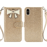 iPhone XS/X Sparkle Wallet Case With Diamond Butterfly Design Gold