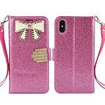 iPhone XS/X Sparkle Wallet Case With Diamond Butterfly Design Pink