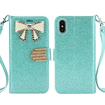 iPhone XS/X Sparkle Wallet Case With Diamond Butterfly Design Blue