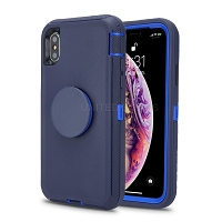 iPhone 11 Pro Max New Heavy Duty Defender Case With Pop Holder Dark Blue/Dark Blue