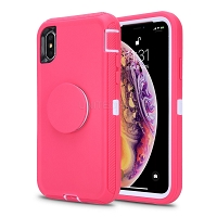 iPhone 11 Pro Max New Heavy Duty Defender Case With Pop Holder Pink/White