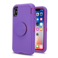 iPhone 11 Pro Max New Heavy Duty Defender Case With Pop Holder Purple/Pink