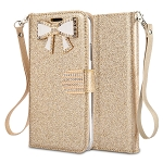 Samsung Galaxy A30 Sparkle Wallet Case With Diamond Butterfly Design Gold