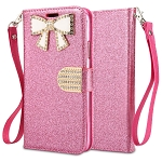 Samsung Galaxy A50 Sparkle Wallet Case With Diamond Butterfly Design Pink