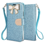Samsung Galaxy A50 Sparkle Wallet Case With Diamond Butterfly Design Blue