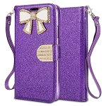 Samsung Galaxy A30 Sparkle Wallet Case With Diamond Butterfly Design Purple
