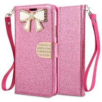 IPhone XS Max Sparkle Diamond Wallet Case With Butterfly Design Pink