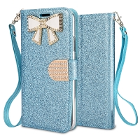 IPhone XS Max Sparkle Diamond Wallet Case With Butterfly Design Blue