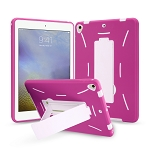 New iPad 9.7 2018/2017/Air2/Air Heavy Duty Case With Kickstand Pink/White