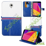 Blu Studio 7.0 D700i Wallet Case Blue/White