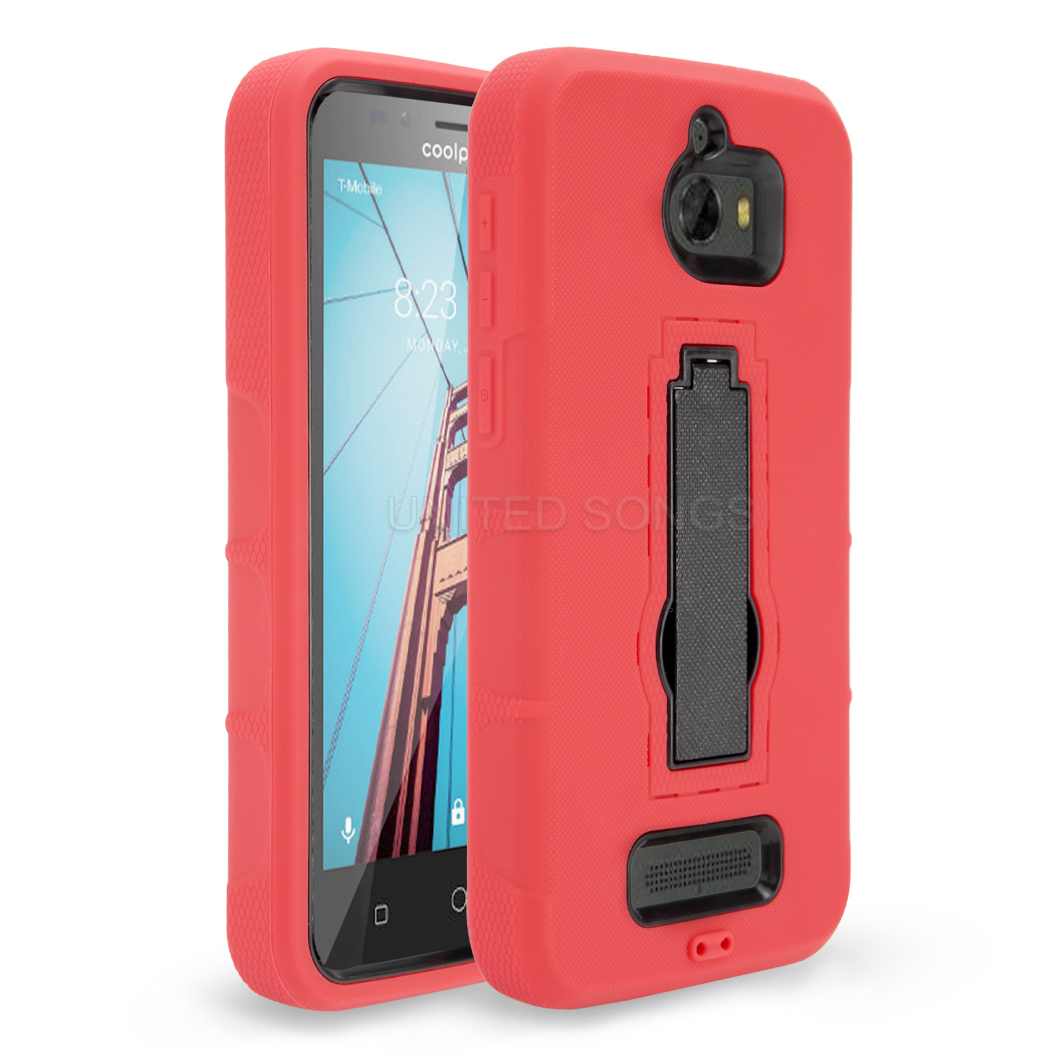new concept 52c4b ff18a Coolpad Defiant 3632A Heavy Duty Case With Kickstand Red/Black