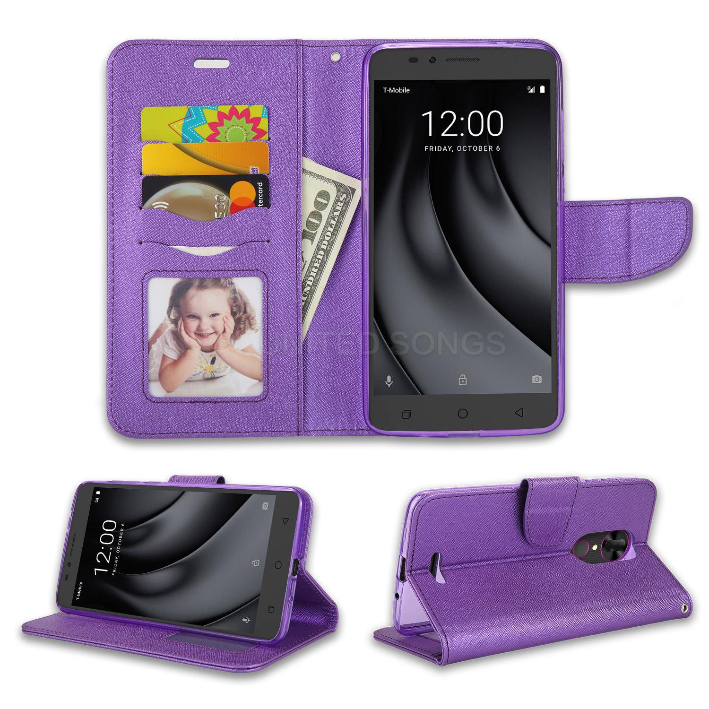 T Mobile Revvl Plus Wallet Case Purple